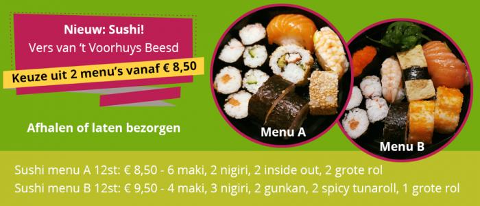 Keuze uit 2 menu's vanaf 8,50 euro. Ophalen of laten bezorgen.